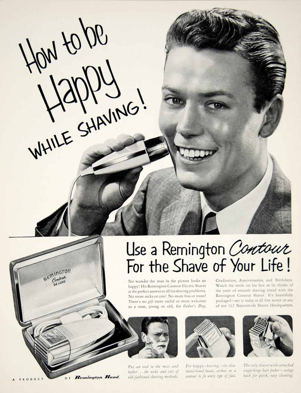 1951 Ad Remington Contour De Luxe Electric Shaver Razor Health Beauty Mens YFT7