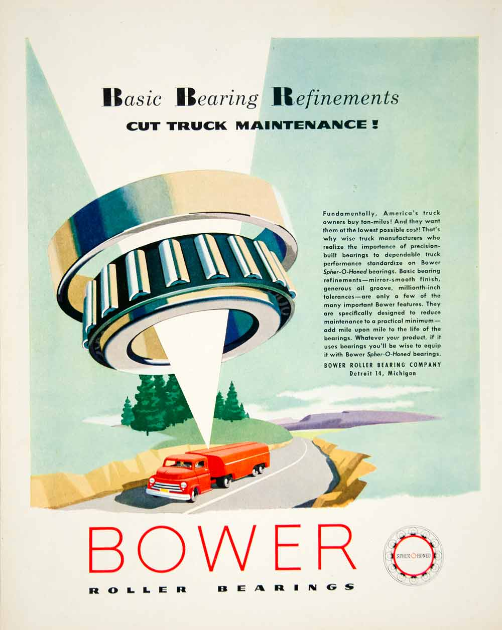 1952 Ad Bower Roller Bearings Detroit Michigan Industrial Manufacturing YFT9