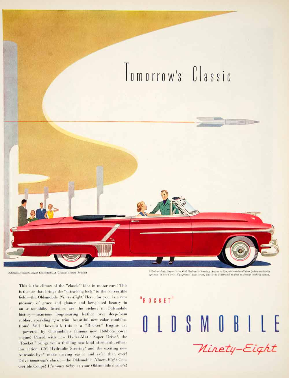 1952 Ad General Motors Oldsmobile Ninety Eight Convertible Automobile Car YFT9