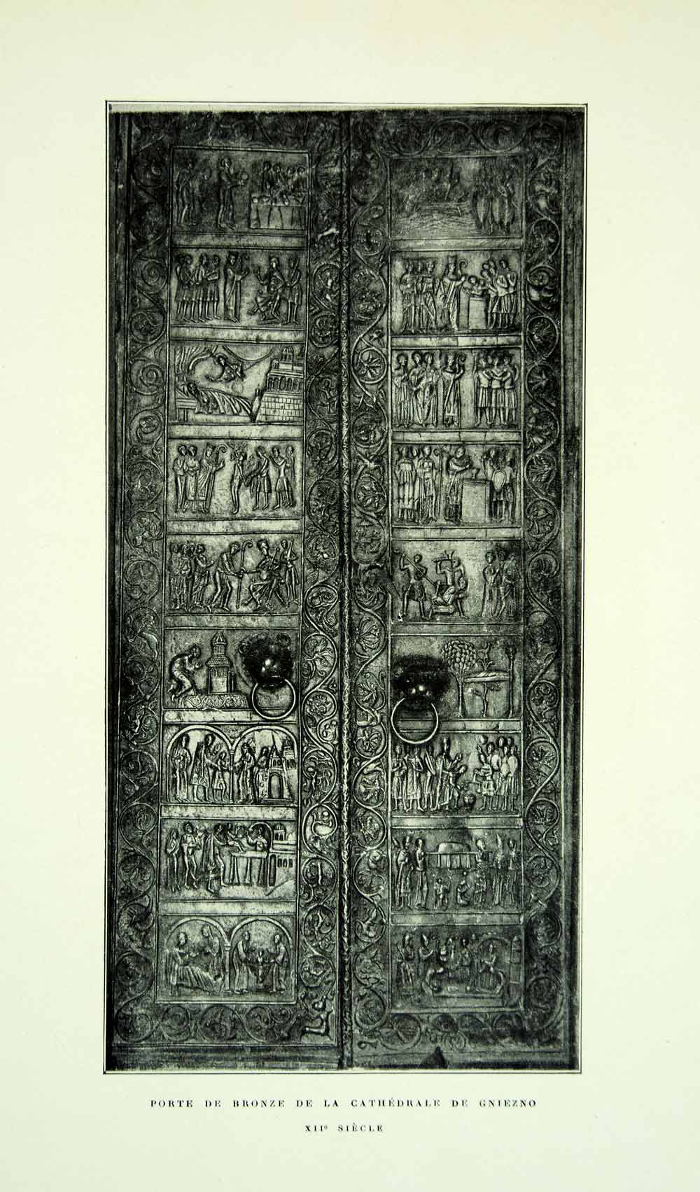 1921 Print Cathedral Bronze Doors Gniezno Poland Bas-Relief Porte Ornate YGBA1