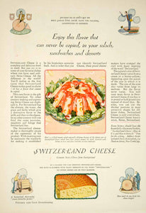 1929 Ad Switzerland Swiss Cheese Jellied Tomato Salad Dairy Food Cooking YGH1