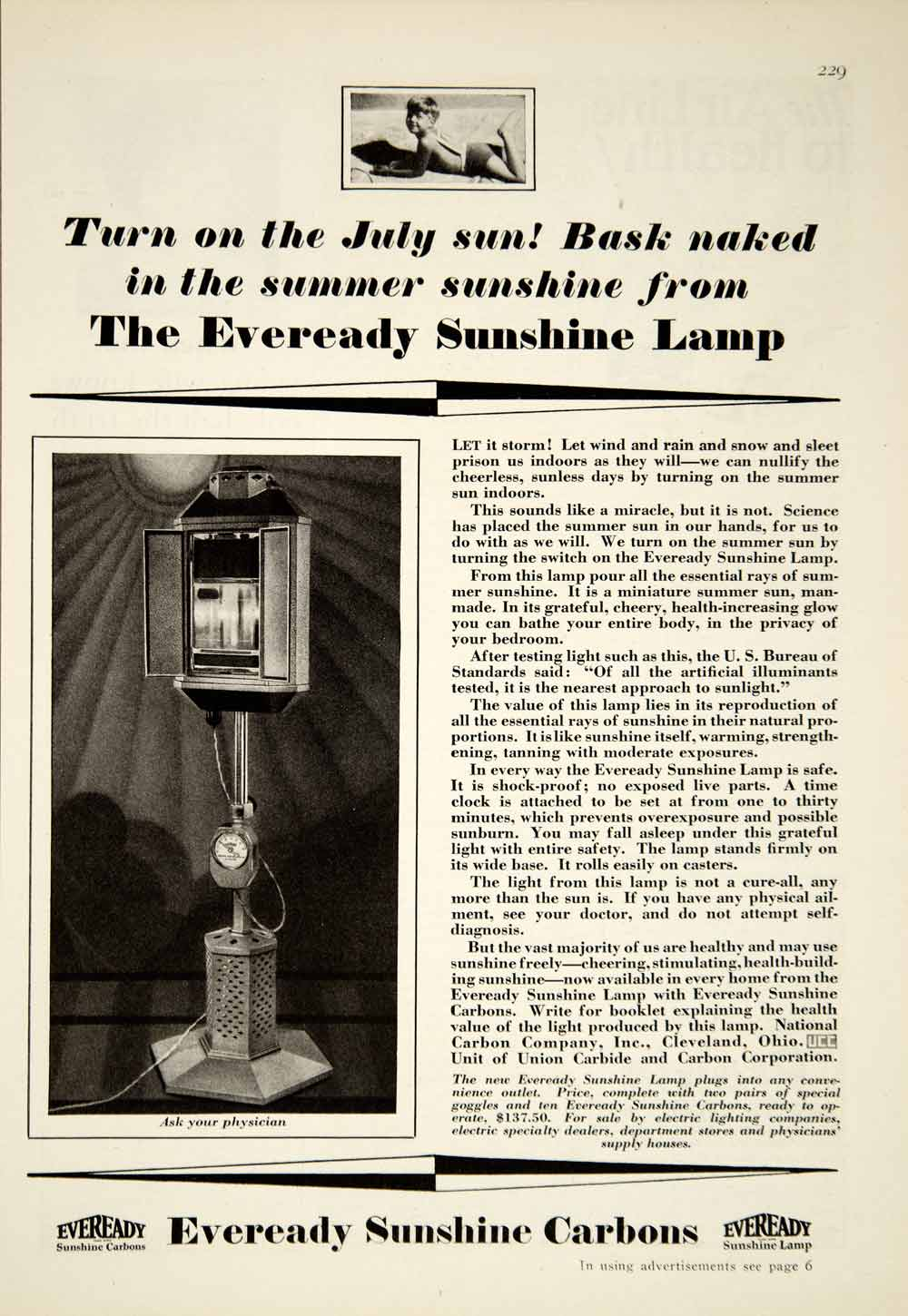 1929 Ad Eveready Sunshine Heat Lamp Medical Quackery Health Tan Twenties YGH1