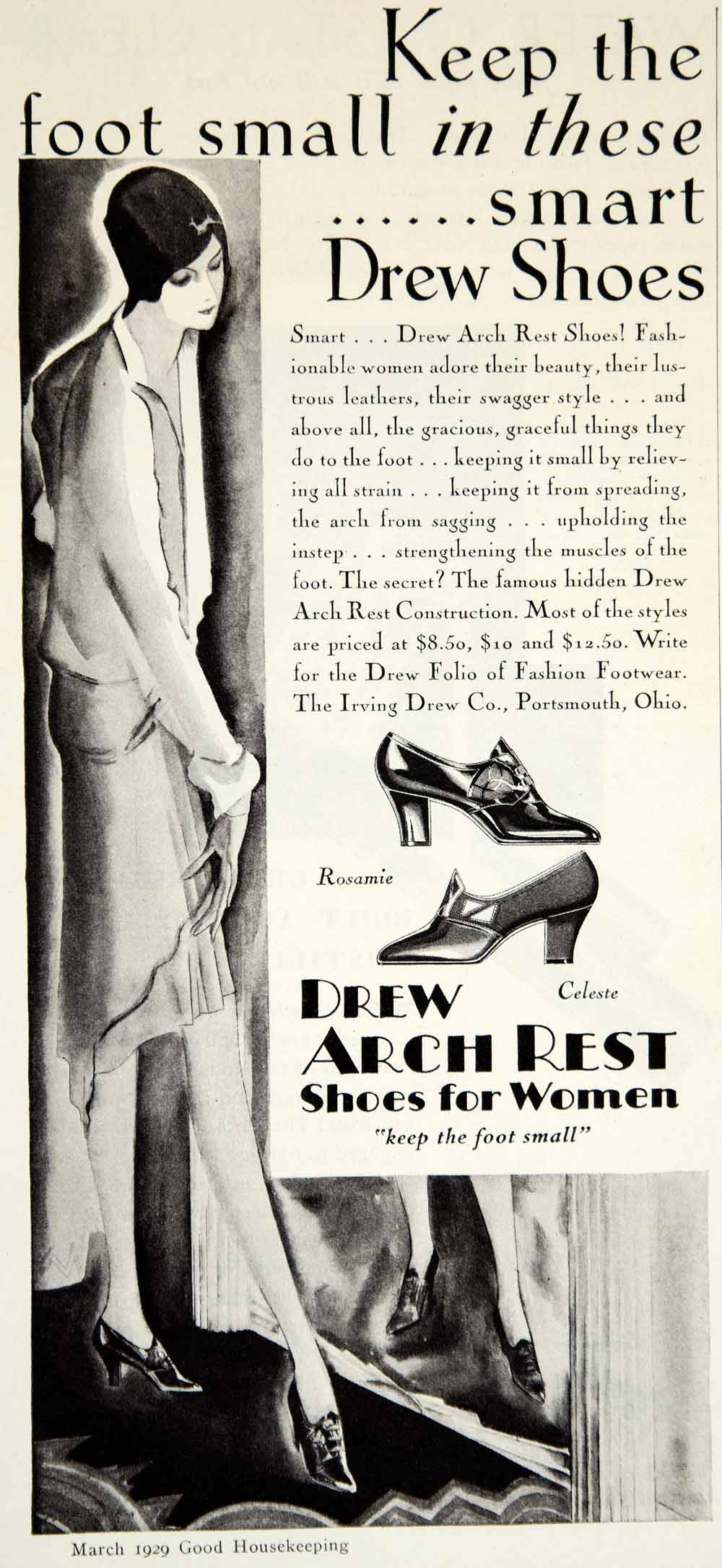 1929 Ad Irving Drew Arch Rest Shoe Women Clothing Art Deco Twenties Fashion YGH1
