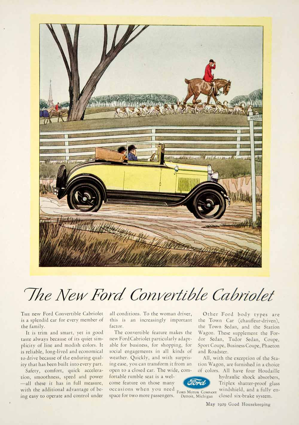 1929 Ad Ford Motor Convertible Cabriolet Horse Dog Hunt Automobile Art Deco YGH2