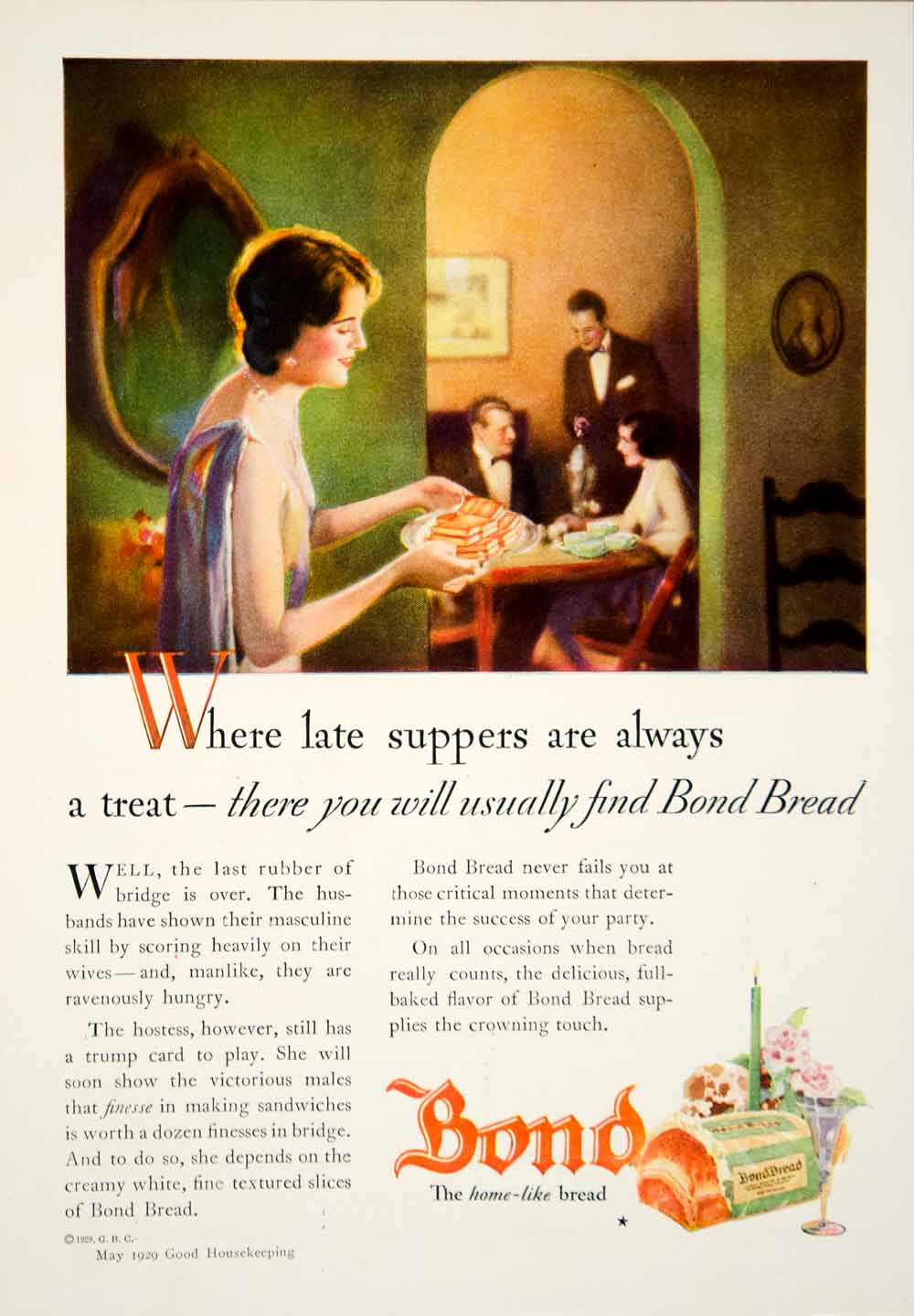 1929 Ad Bond Bread Dinner Party Hostess Food Home Like House Cards Game YGH2
