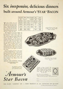 1929 Ad Armour's Star Bacon Meatloaf Stuff Slices Meat Food Platter Snack YGH2