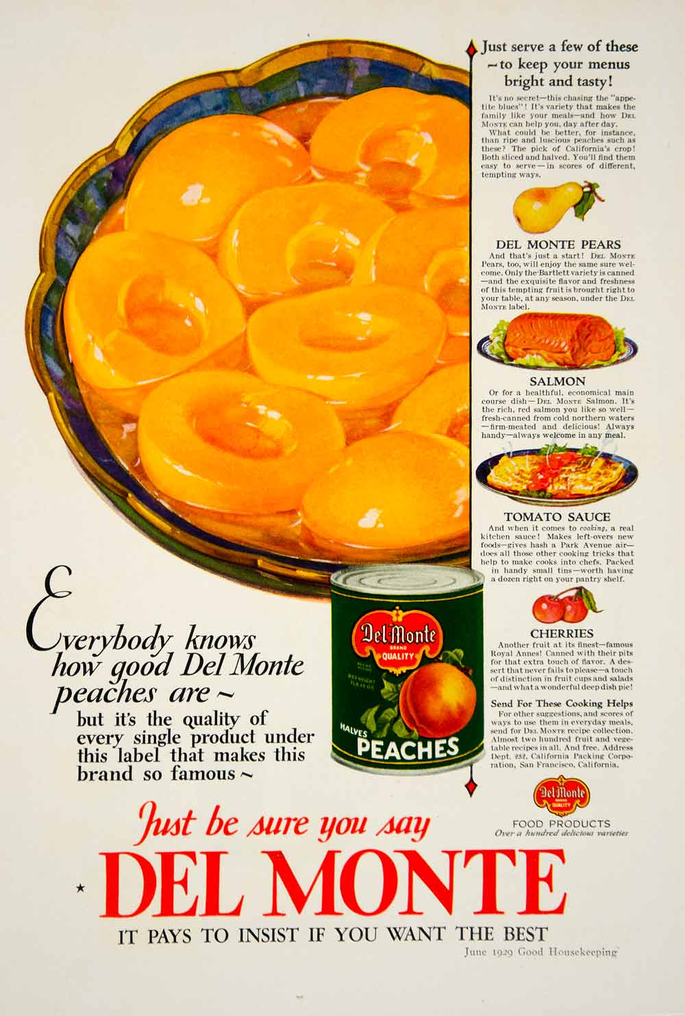 1929 Ad Del Monte Peaches Pears Canned Fruit Cherries Tomato Sauce Dishes YGH2