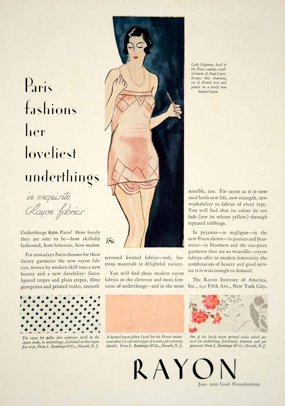 1929 Ad Rayon Fabrics Underwear Slip Paris Fashions Polka Dots Dress Floral YGH2