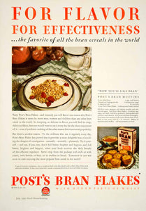 1929 Ad Post Bran Flakes Cereal Breakfast Food Wheat Table Setting Muffins YGH2