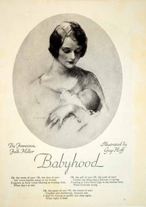 1929 Print Guy Hoff Mother Baby Child Babyhood Francesca Falk Miller Poem YGH2