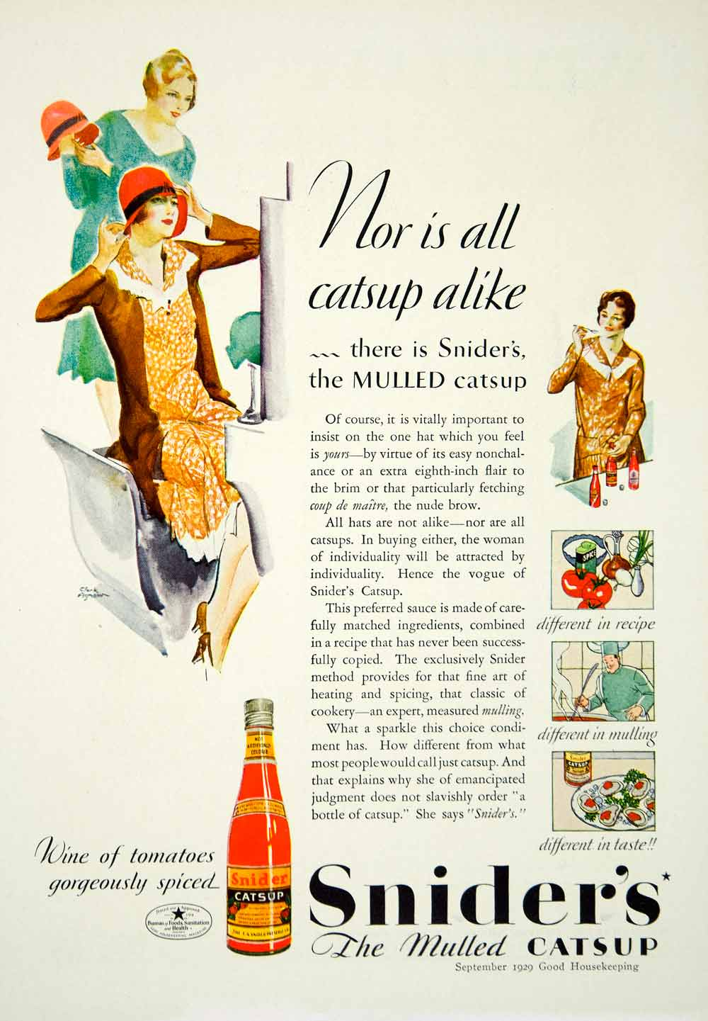 1929 Ad Snider's Mulled Catsup Ketchup Art Deco Fashion Housewife Cooking YGH3