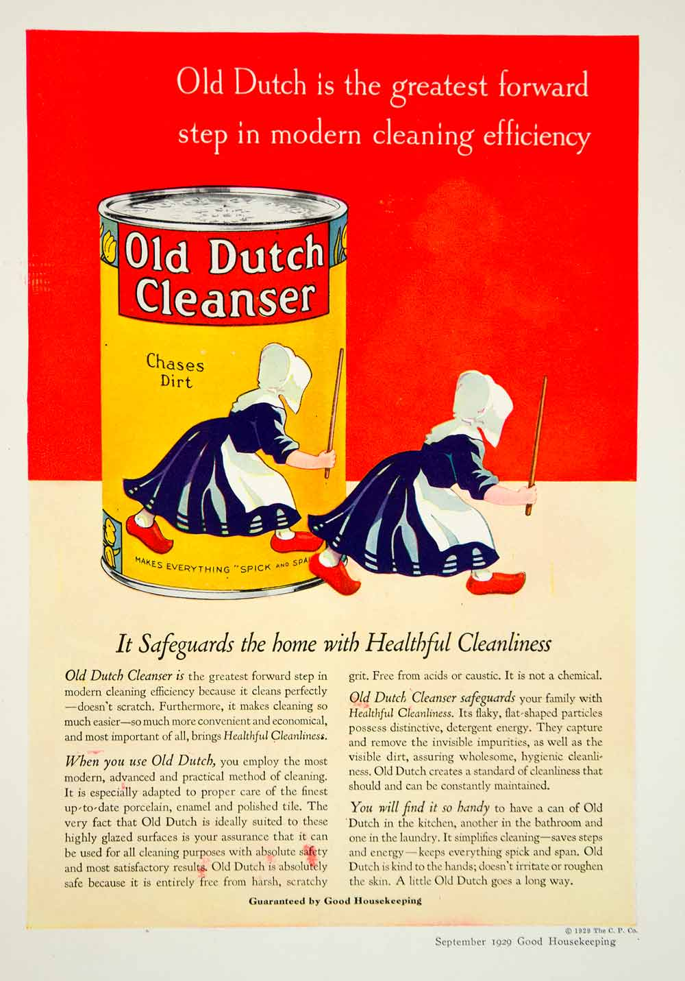1929 Ad Old Dutch Cleanser Clogs Cleaning Supplies Spick Span Children Home YGH3