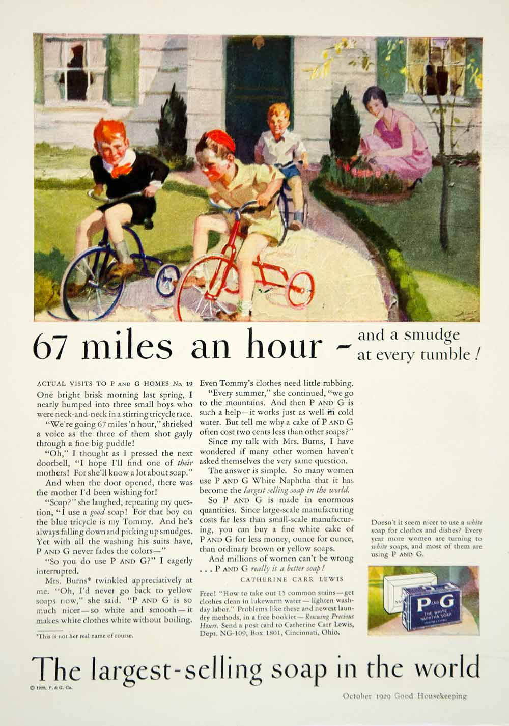 1929 Ad P & G Naphtha Soap Children Catherine Carr Lewis Tricycle Boy Clean YGH3
