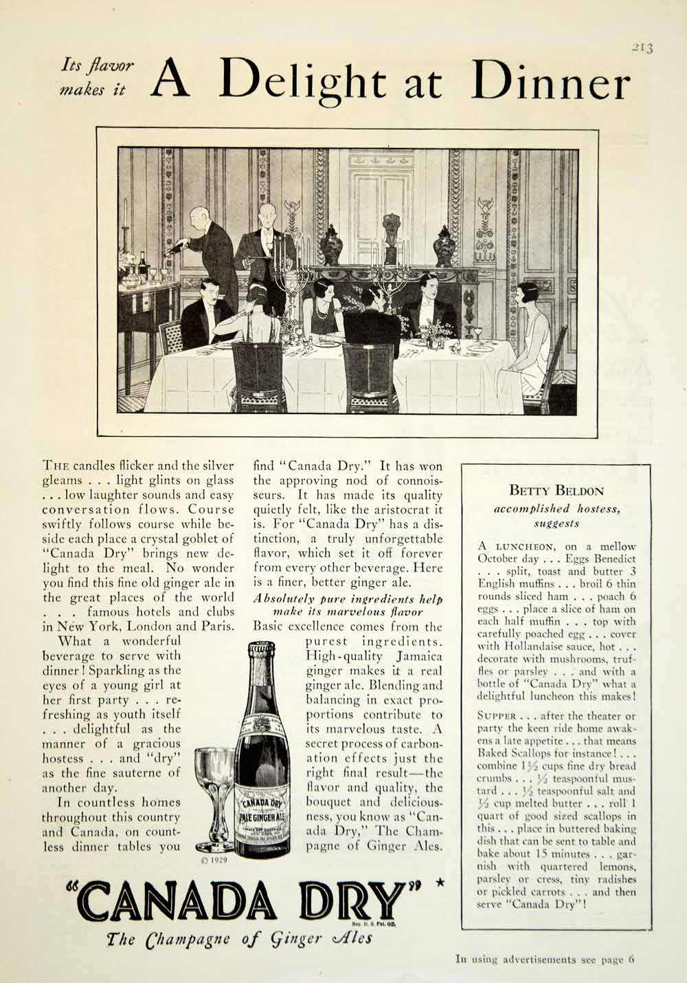 1929 Ad Canada Dry Champagne Ginger Ales Art Deco Drink Beverage Dinning YGH3