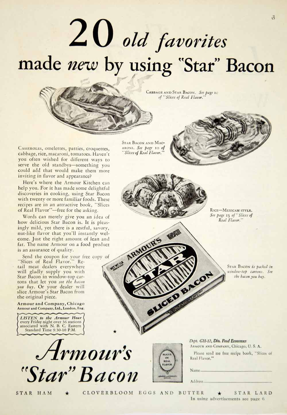 1929 Ad Armour Star Bacon Ham Cloverbloom Eggs Butter Lard Food Meat Dishes YGH3