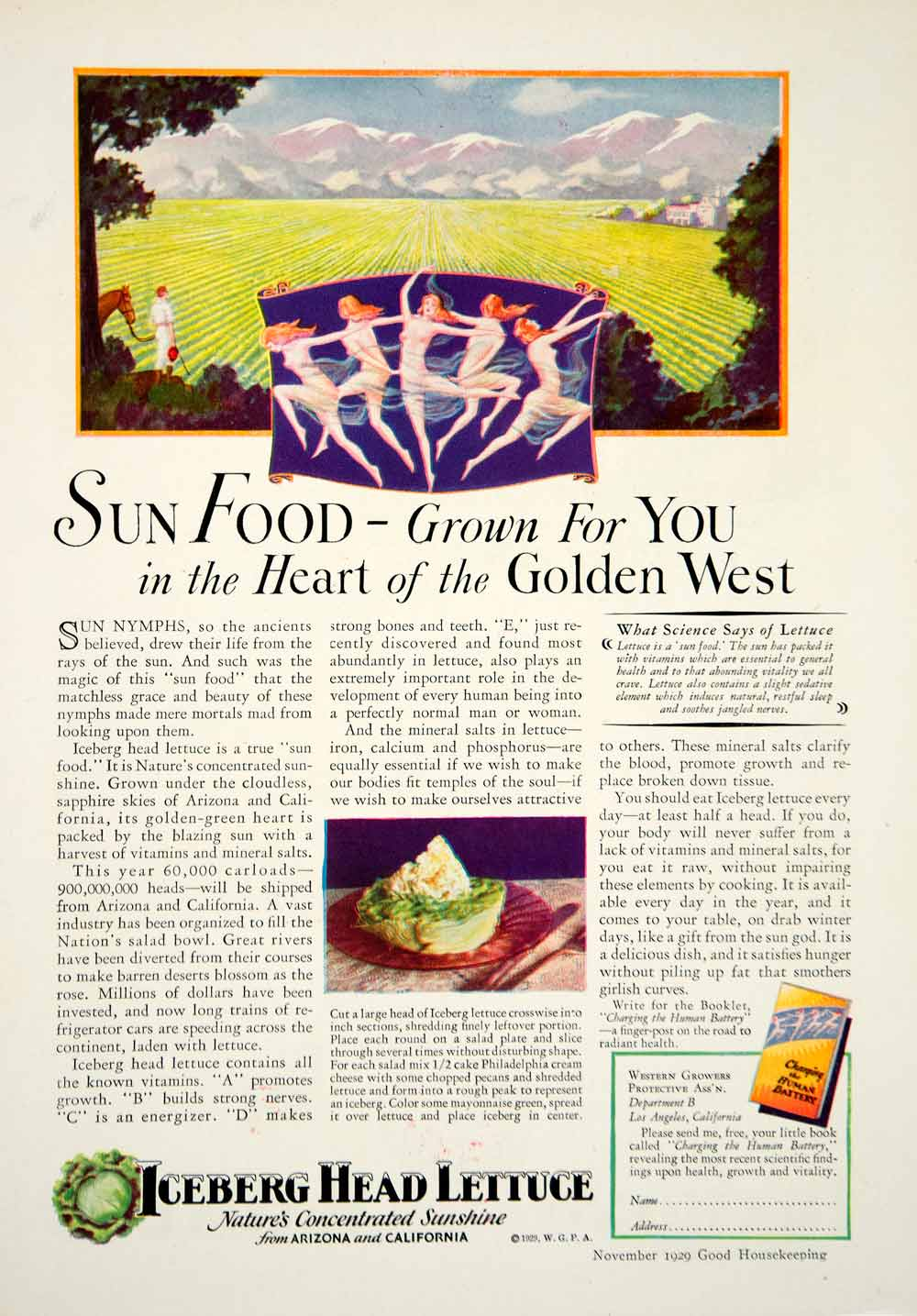 1929 Ad Iceberg Head Lettuce Sun Nymph Dance Produce Agriculture Food Salad YGH3