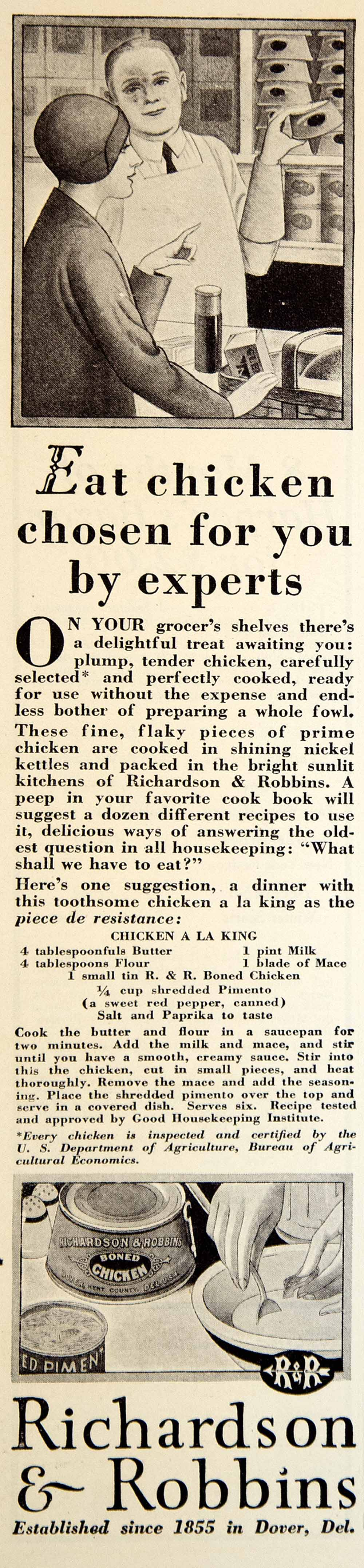 1929 Ad Richarson Robbins Boned Chicken Can Tin Grocery Food Meat Art Deco YGH3