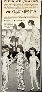 1929 Ad Underwear Pajamas Children Clothing Minneapolis Knitting Works Kids YGH3