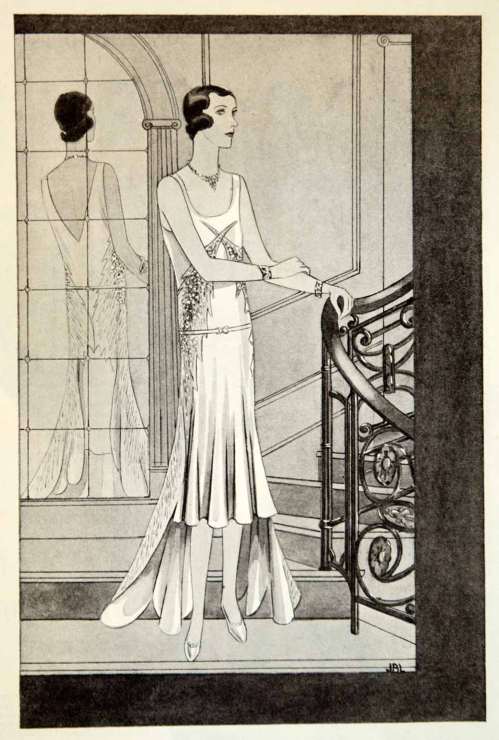 1929 Print Art Deco Fashion Evening Gown Tulle Lelong House Clothing