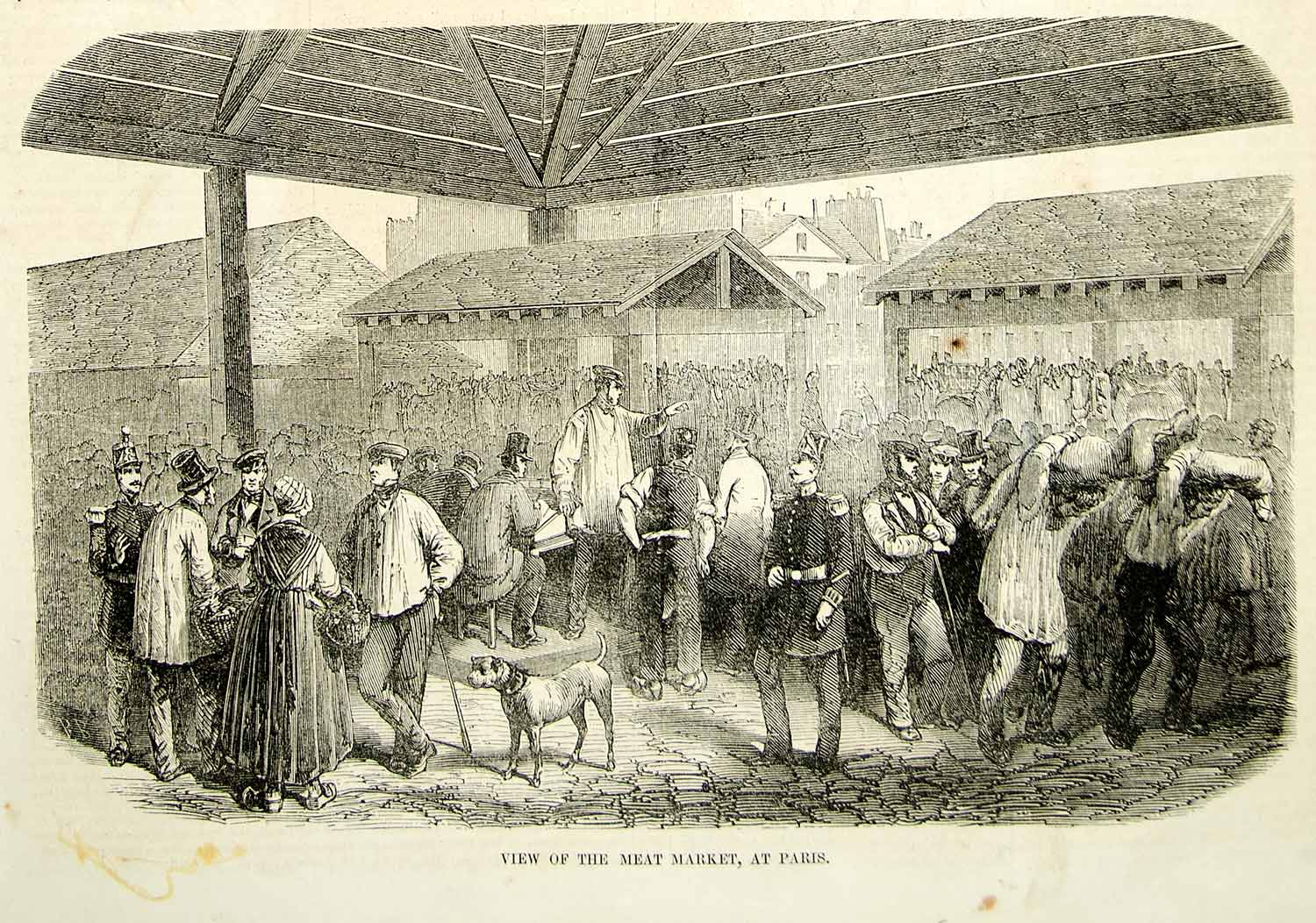 1852 Wood Engraving Art Meat Market des Prouvaires Paris France Europe City YGP2