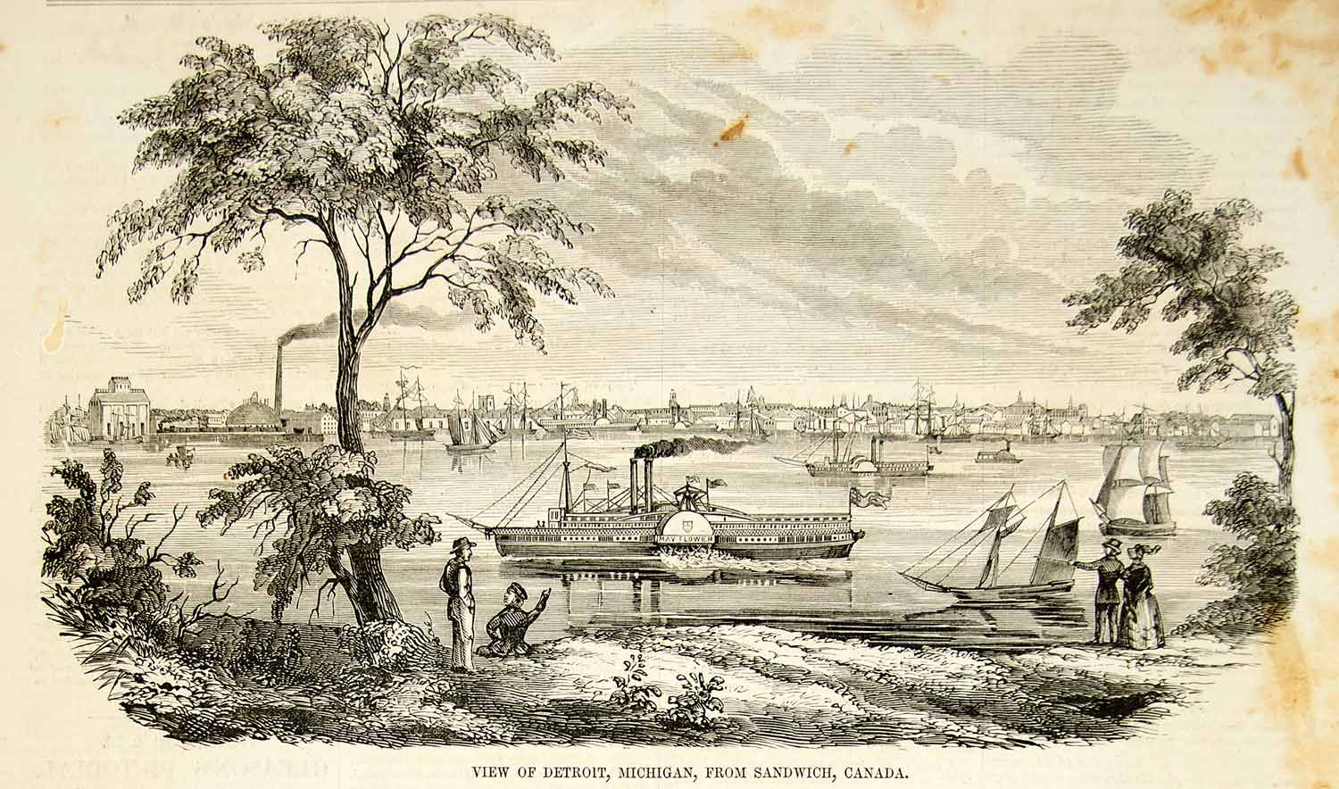 1852 Wood Engraving Art Detroit Michigan City Steamboat Mayflower River YGP2