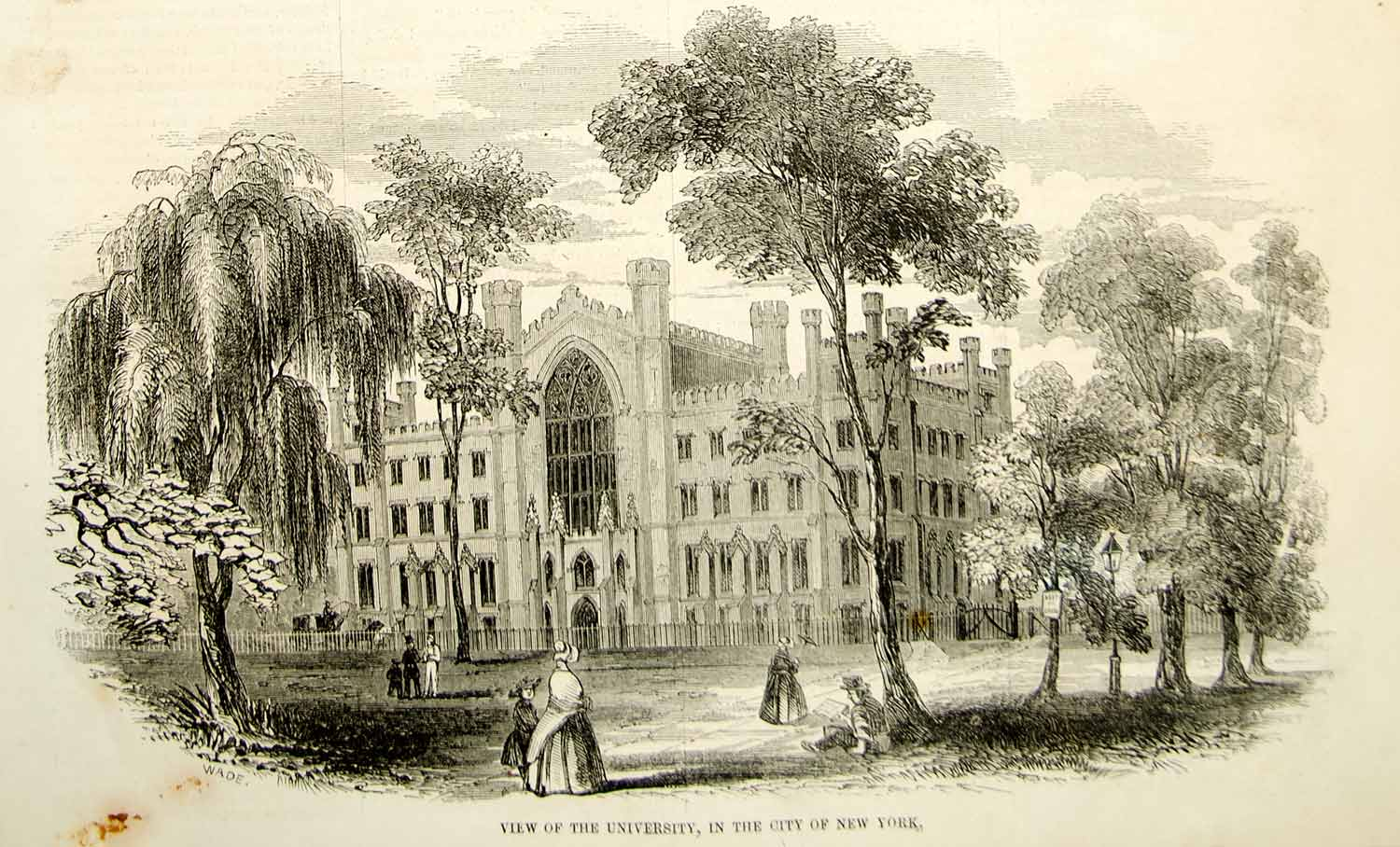 1852 Wood Engraving University New York City Gothic Architecture College YGP2