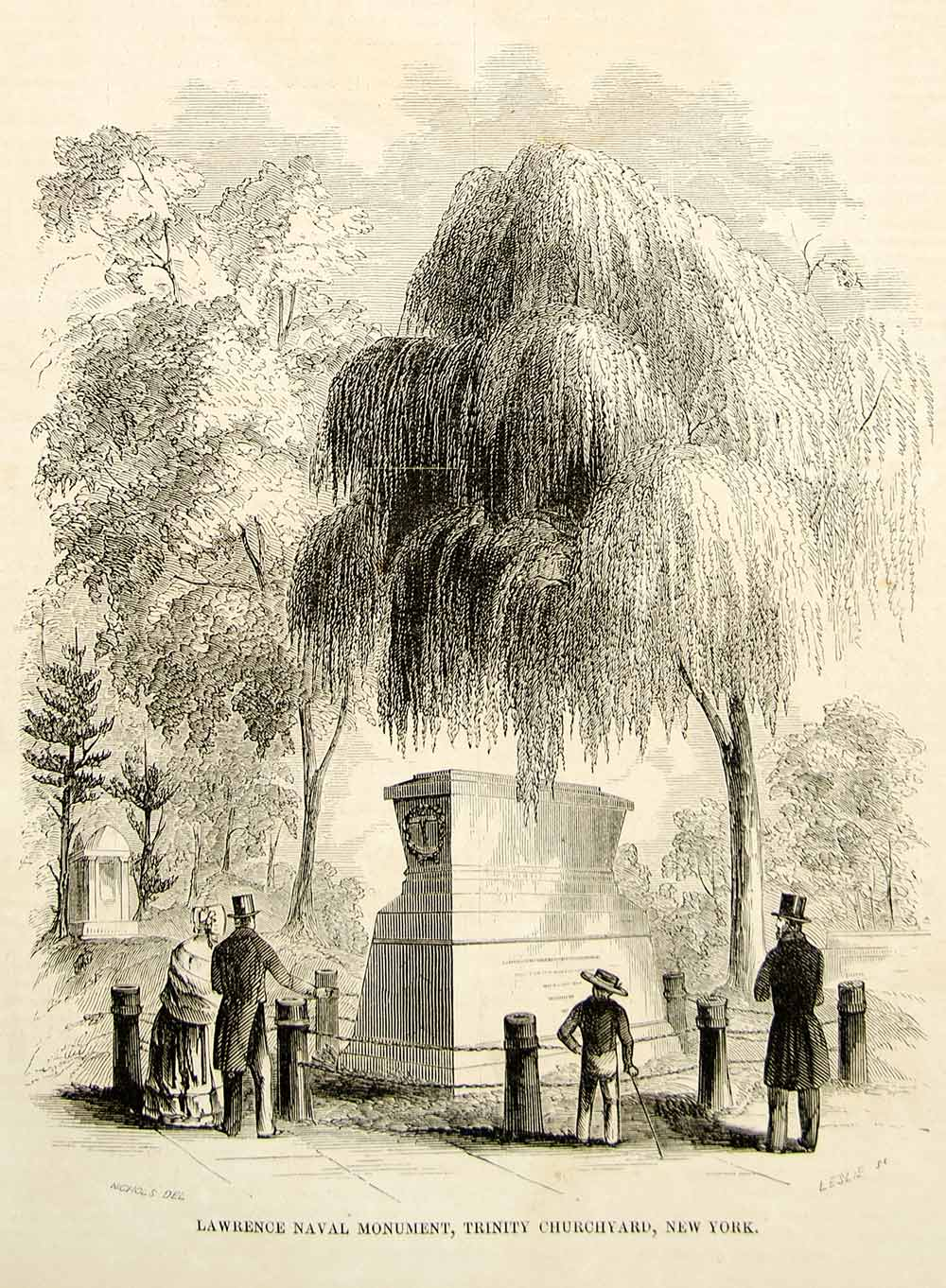 1852 Wood Engraving Art James Lawrence Naval Monument Trinity Church NYC YGP2