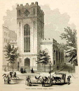 1853 Wood Engraving Second Trinity Church Summer Street Boston Episcopal Antique
