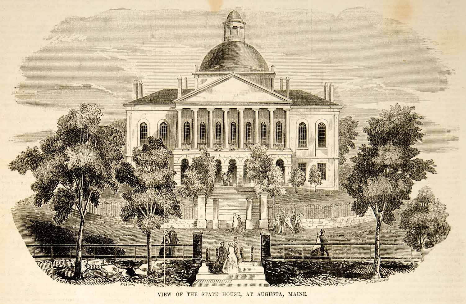 1853 Wood Engraving Augusta Maine State House Capitol Historic Building Landmark