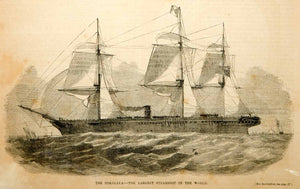 1854 Wood Engraving HMS Himalaya Steamship British Navy Troop Ship Sailing Sails