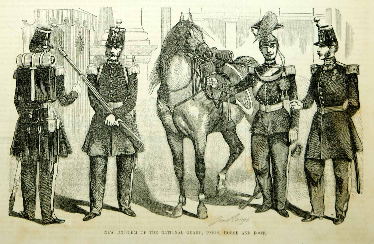 1854 Wood Engraving Paris National Guard Uniform French Militia Horse Military