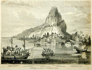 1854 Wood Engraving Mount of Pleasure Japan Mountain Governor's House Antique