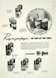 1946 Ad Killinger Hi-Jacs Drink Sleeve Koozie Kitchen Beverage Alcohol YHB2