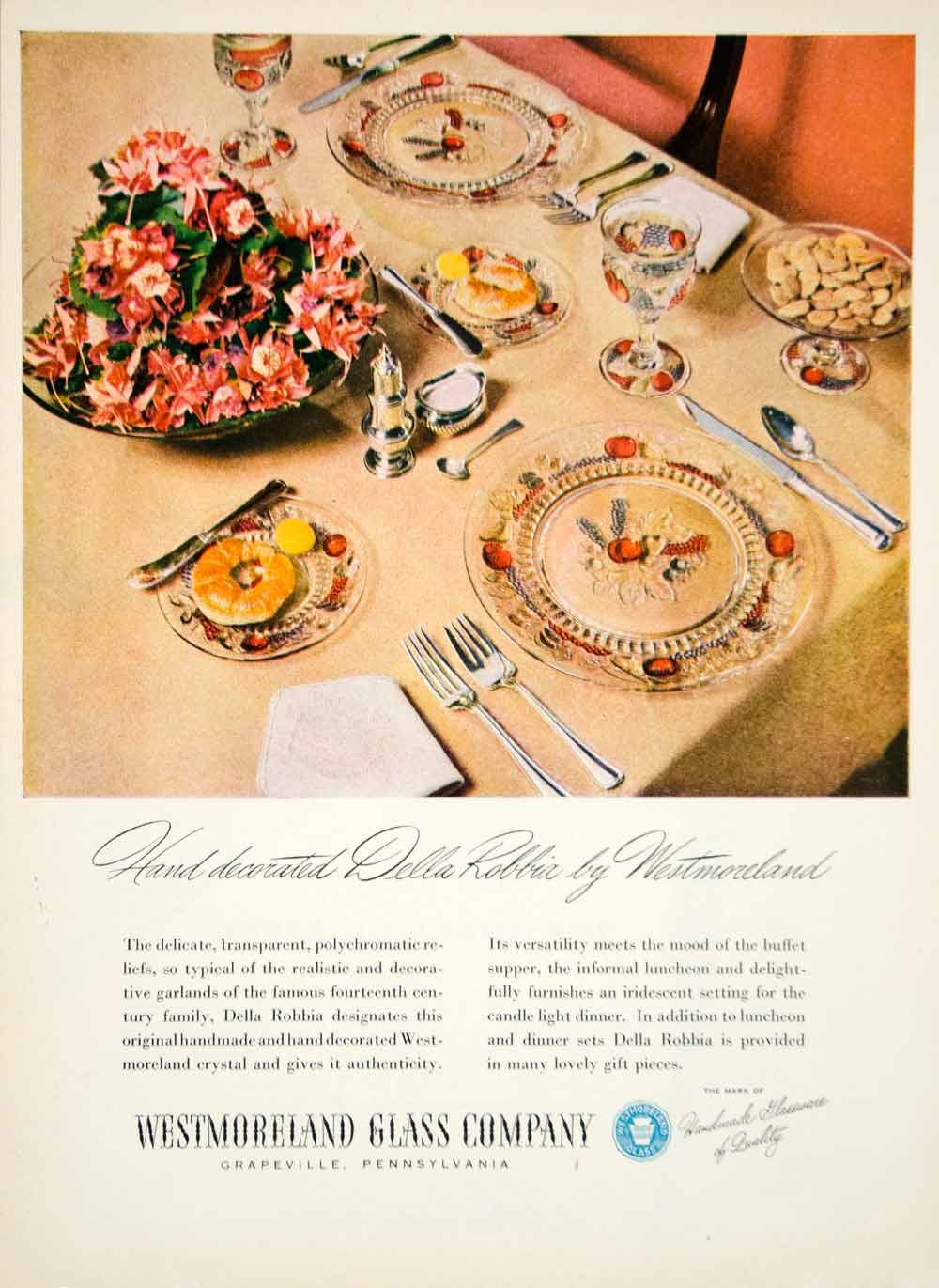 1946 Ad Westmoreland Glass Della Robbia Crystal Dishes Kitchen Household YHB2