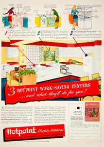 1946 Ad Hotpoint Institute Kitchen Appliance Electric Range Dishwasher YHB2