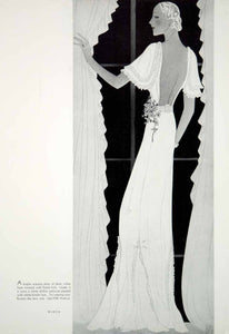 1934 Print Vintage House of Worth Evening Dress Backless Art Deco Fashion YHB3