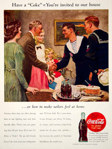 1944 Ad Vintage Coca-Cola Coke World War II Sailors Uniform Norman Price YHB4