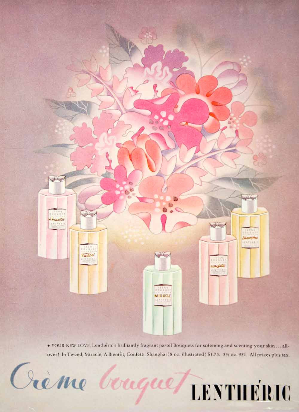 1944 Ad Vintage Lentheric Creme Bouquet Skin Care Perfume Scents Fragrance YHB4 - Period Paper