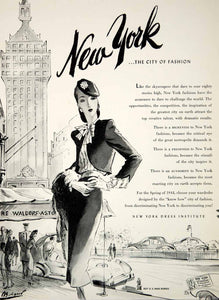 1944 Ad New York Dress Institute Fashion Waldorf Astoria Joseph Bolegard YHB4
