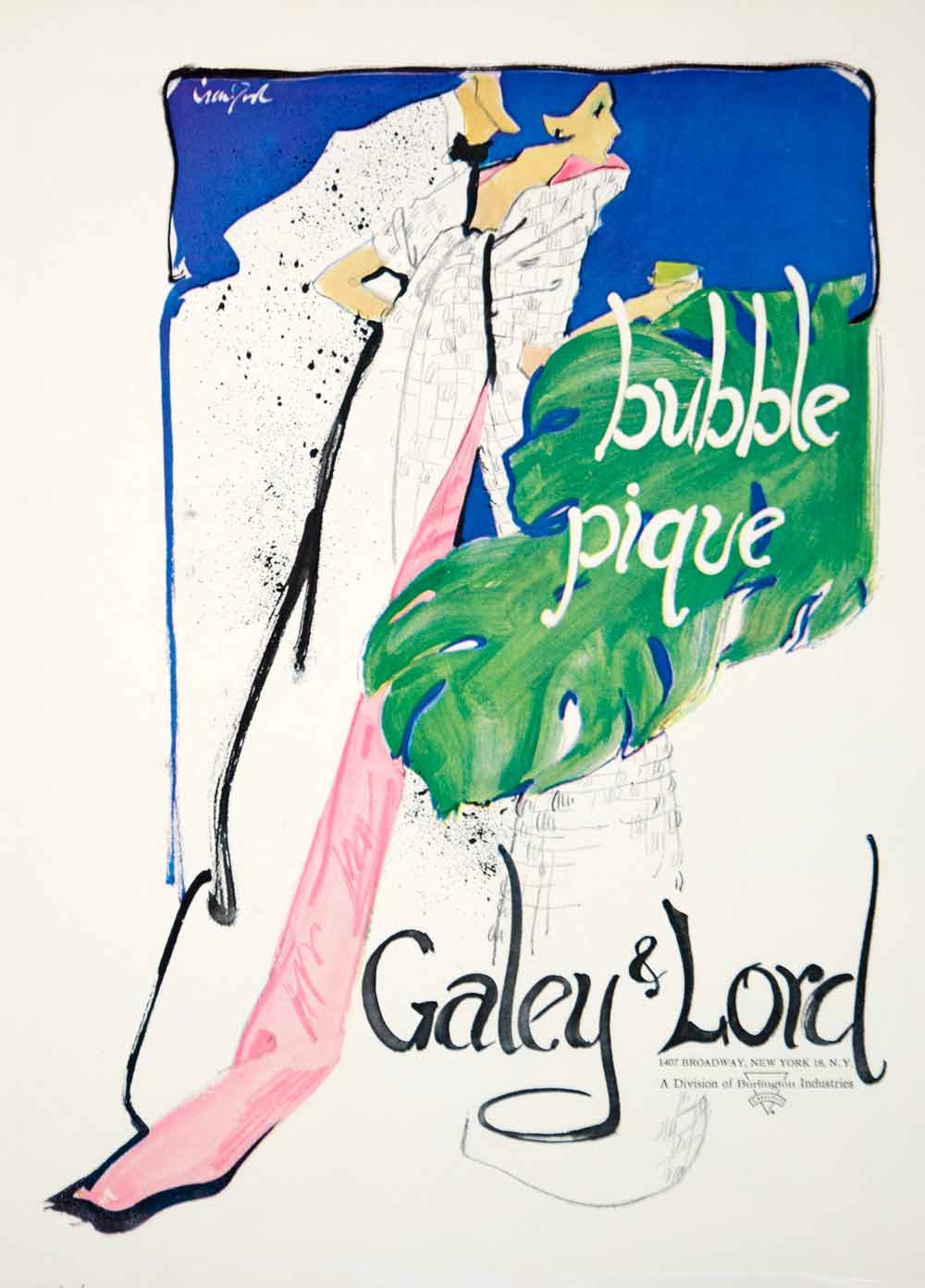 1963 Ad Vintage Galey Lord Bubble Pique Fabric J. Hyde Crawford Fashion Art YHB5