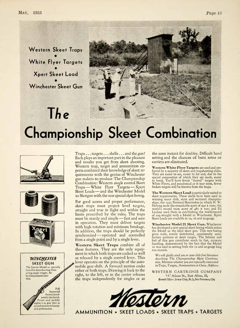 1933 Ad Western Cartridge Xpert Skeet Shooting Load Ammo Winchester Model YHF1