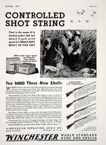 1933 Ad Winchester Super Speed Shotgun Shells Model 21 97 42 Hunting YHF1 - Period Paper
