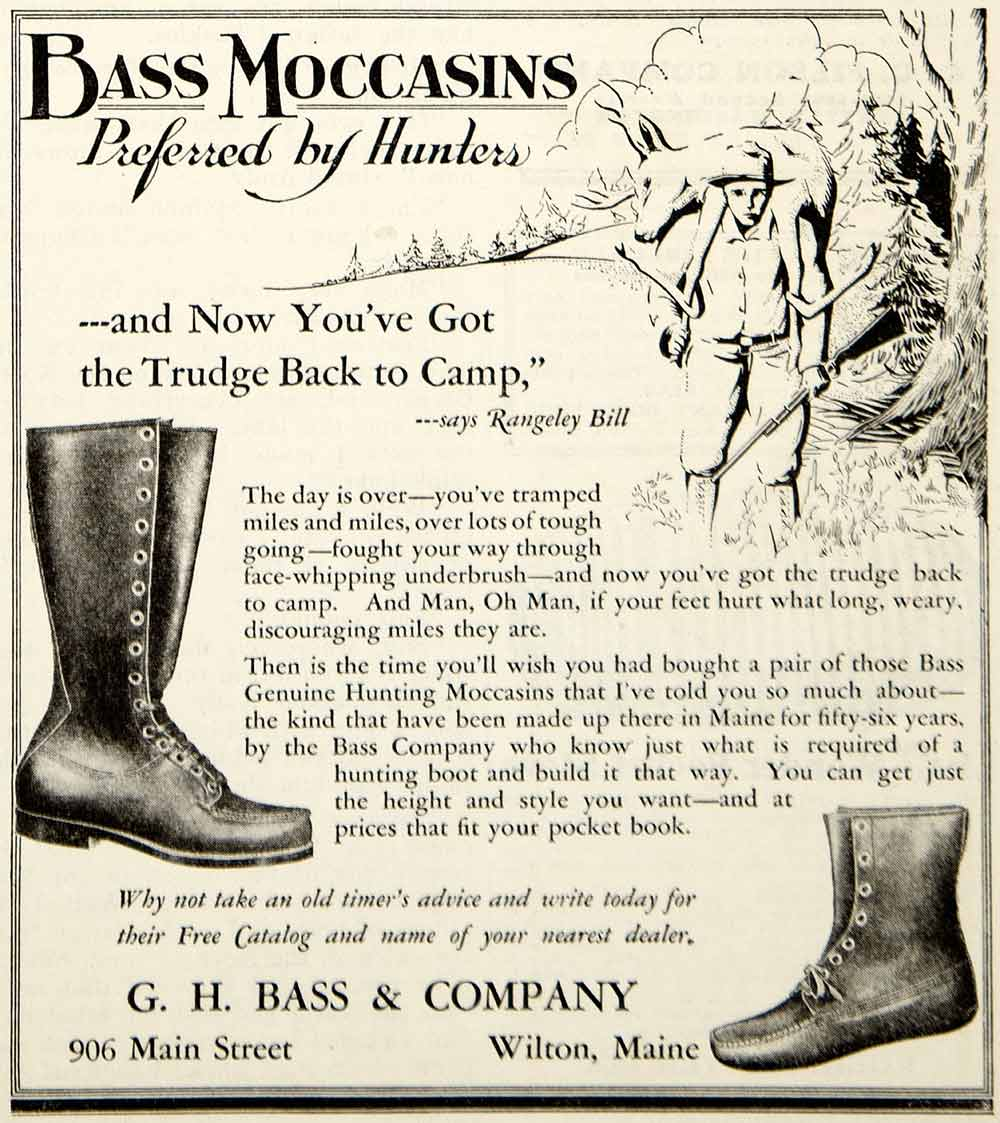 1931 Ad GH Bass Moccasins Boot Shoes Clothing Hunting Sportsman Fashion YHF1