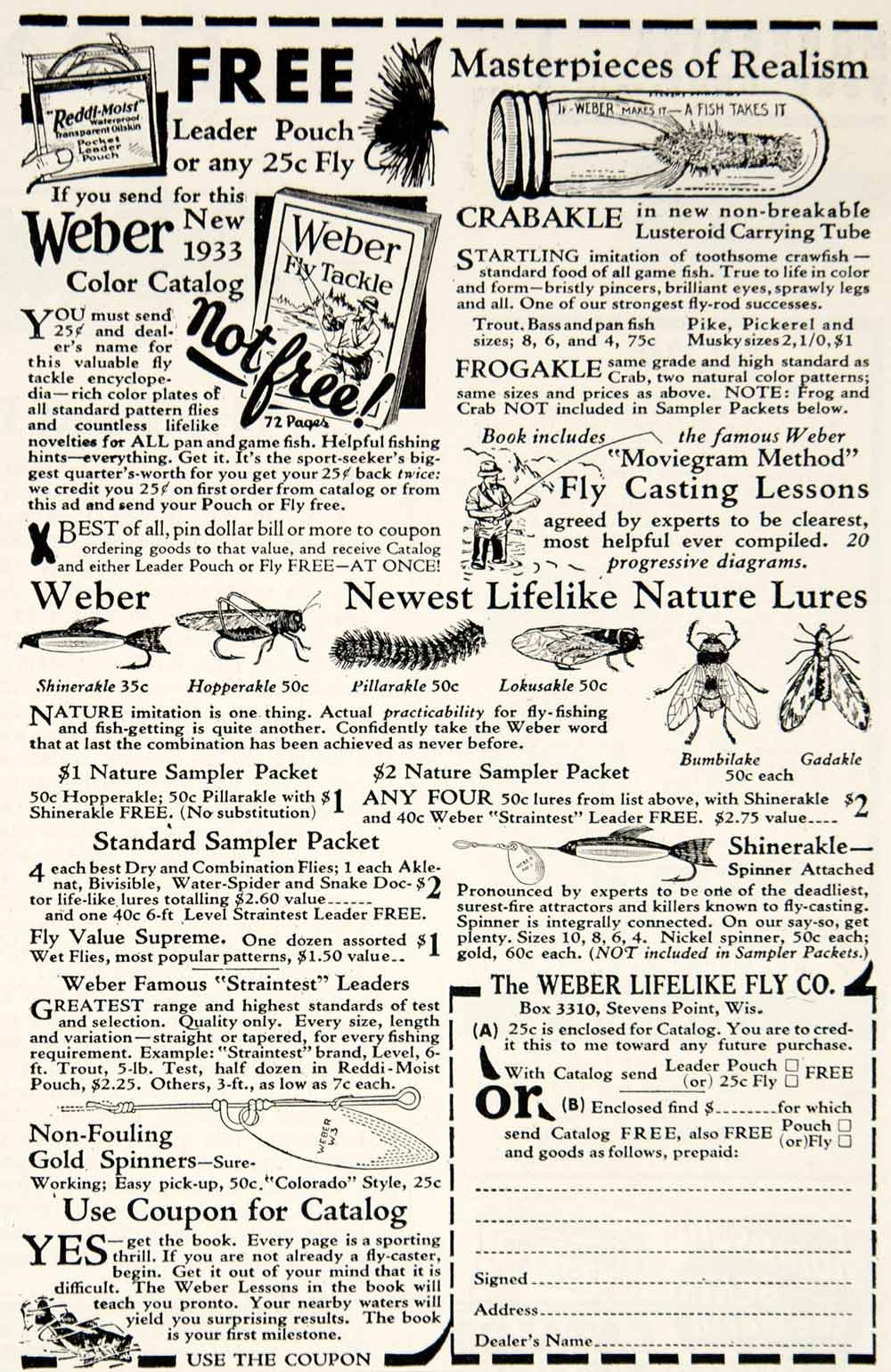 1933 Ad Weber Lifelike Fly Fishing Lure Bait Tackle Sporting Goods YHF1