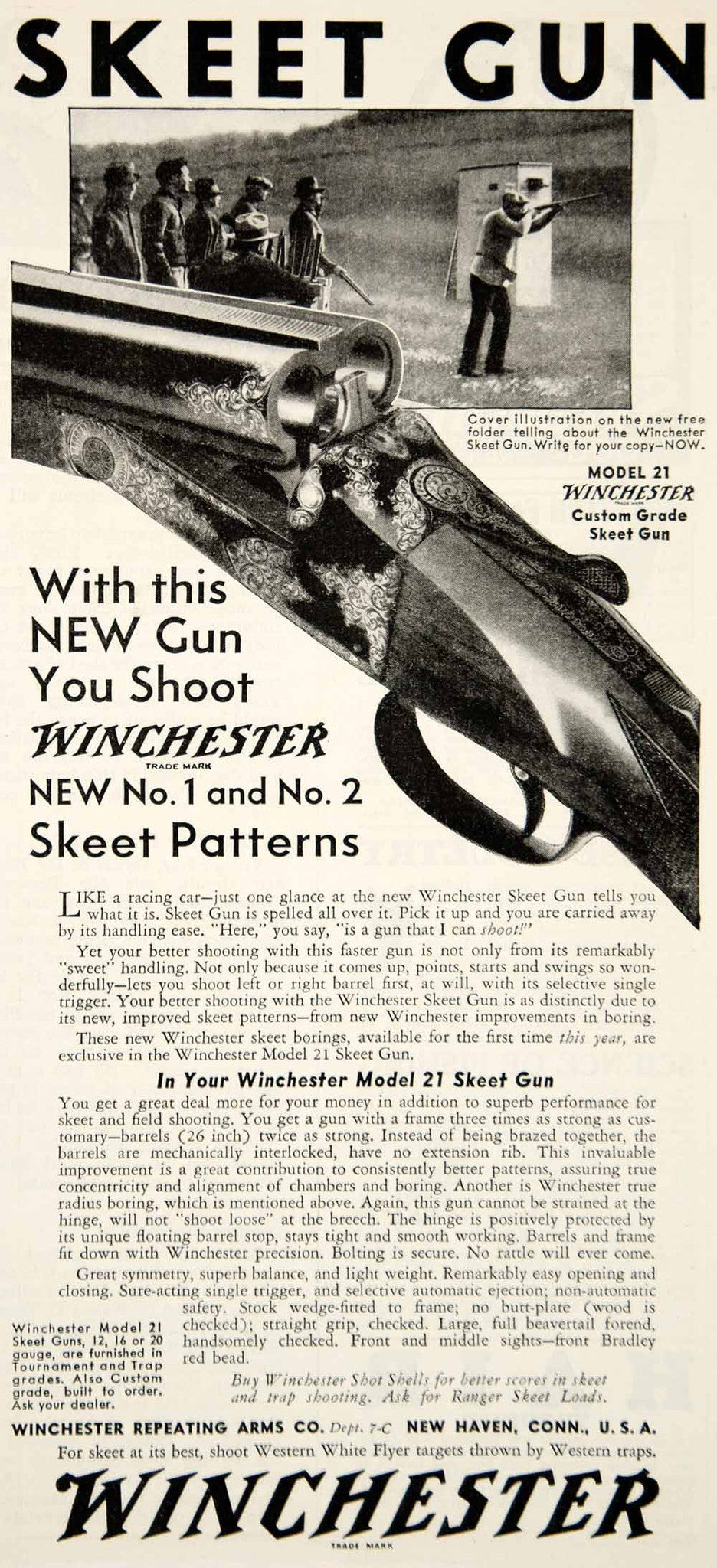 1933 Ad Winchester Model 21 Skeet Gun Shotgun Sporting Goods Outdoorsman YHF1 - Period Paper