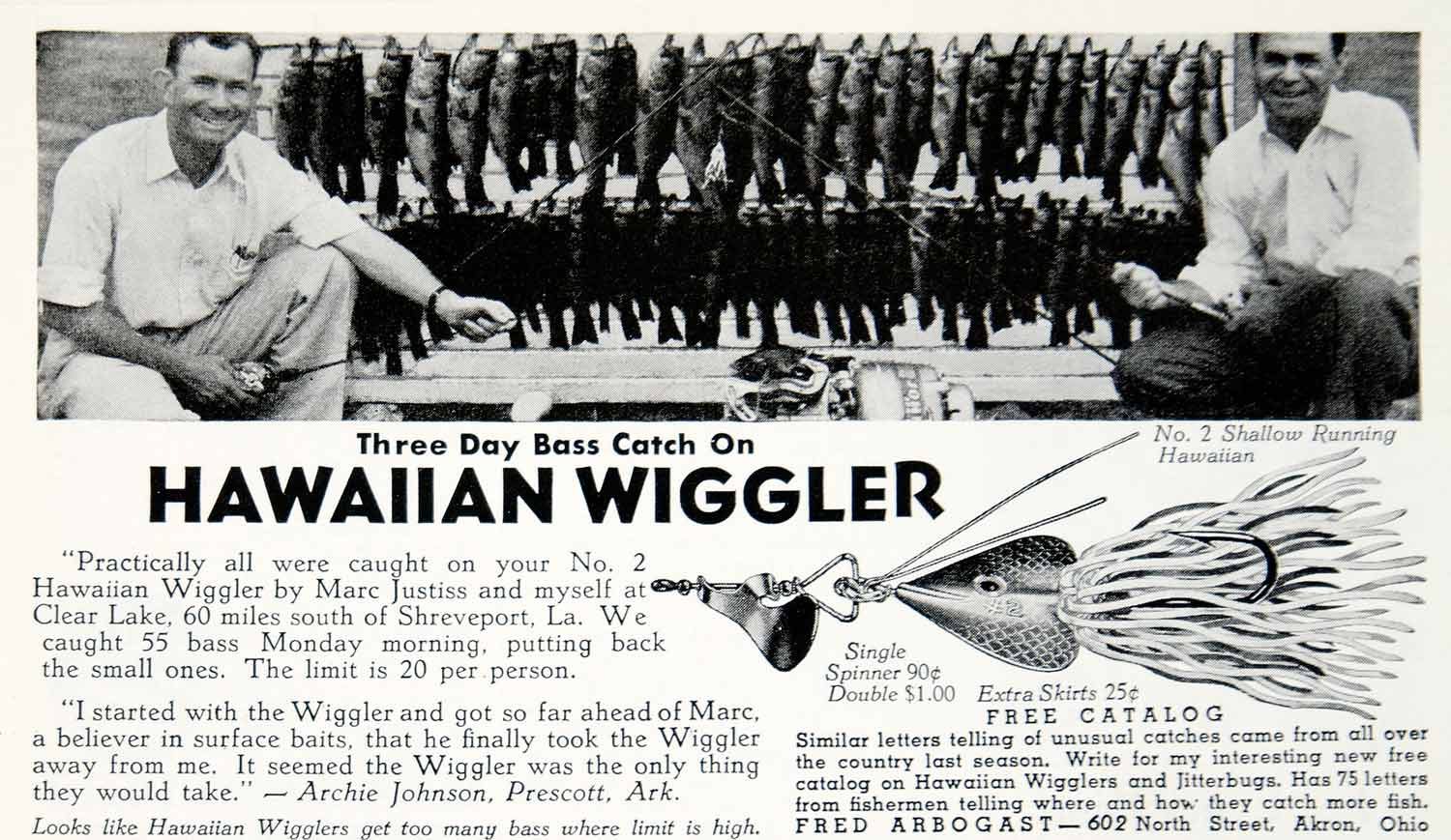 1941 Ad Fred Arbogast Hawaiian Wiggler Fishing Lure Sporting Goods Bait YHF1