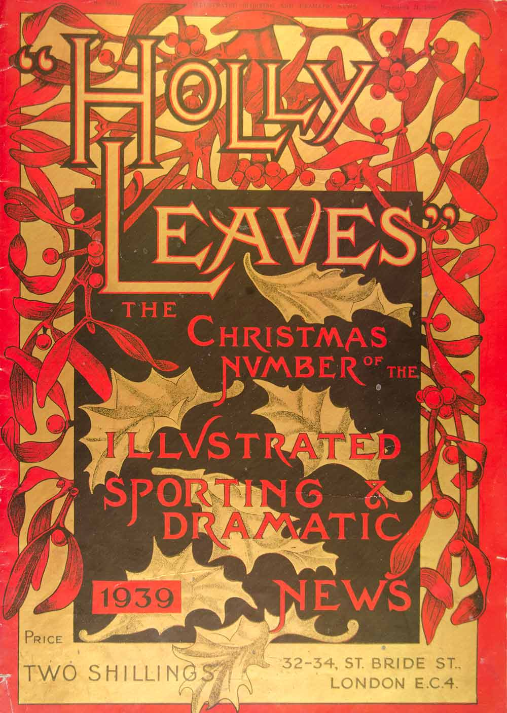 1939 Lithograph Cover Holly Leaves Illustrated Sporting Dramatic News YHL1