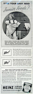 1941 Advert Junior Foods Heinz Baby Infant Prune Pudding Toddler Children YHM1