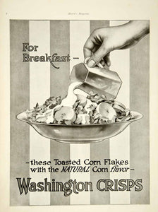 1916 Ad Washington Crisps Toasted Corn Flakes Breakfast Cereal Food Stripes YHM2