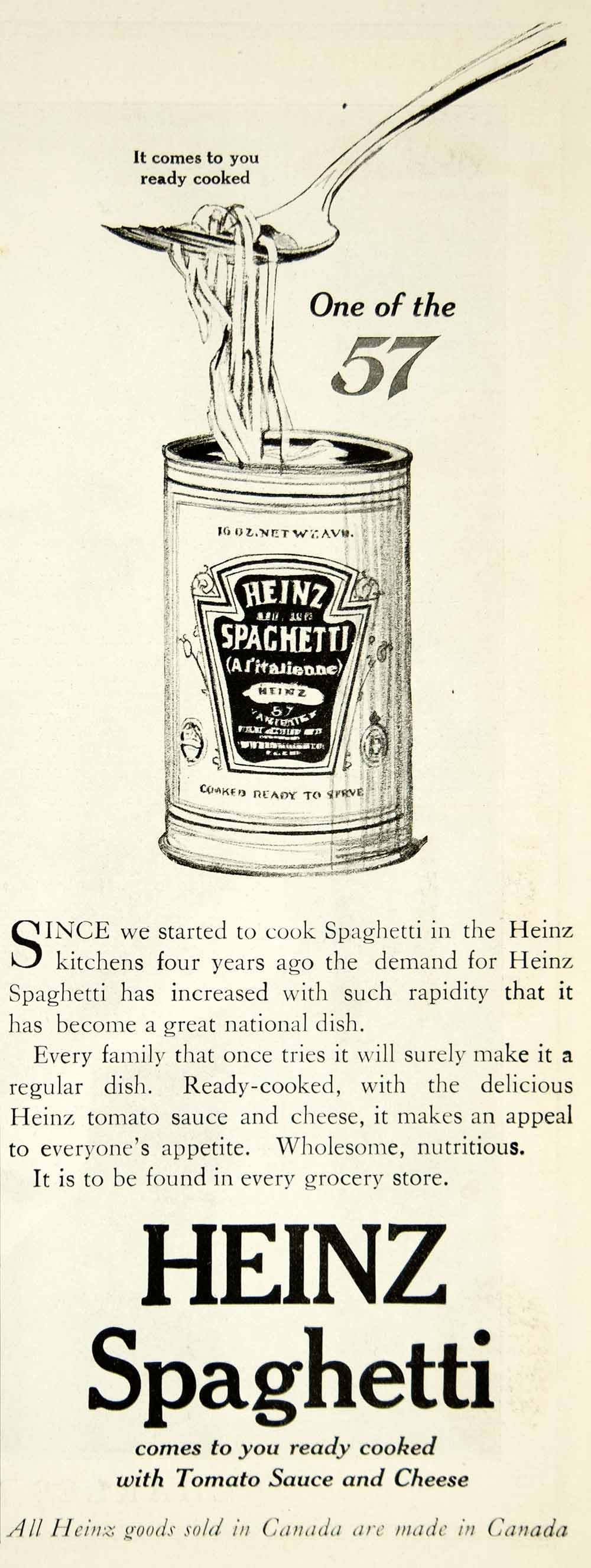 1916 Ad Heinz Spaghetti Can Cooked Fork Food Tomato Sauce Logo Typography YHM2